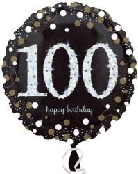 Happy 100th Birthday Black Gold Foil Balloon Uninflated